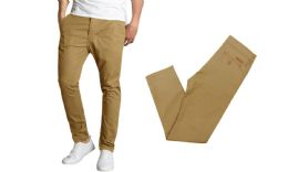 24 Bulk Men's SliM-Fit Cotton Stretch Chino Pants Solid Timber