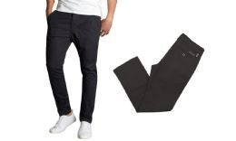 24 Bulk Men's SliM-Fit Cotton Stretch Chino Pants Solid Black Size 32-32 Only