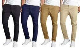 12 Bulk Men's SliM-Fit Cotton Stretch Chino Pants Assorted Colors Bulk Buy