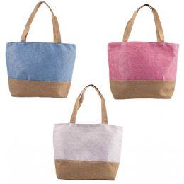 """24 Bulk 18"""" Large Beach Bulk Tote Bags In 3 Assorted Colors"""