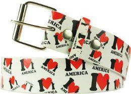 96 Bulk I Love America Printed Belt