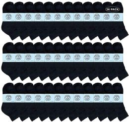 36 Bulk Yacht & Smith Wholesale Kids Mid Ankle Socks, With Free Shipping Size 6-8 (black)