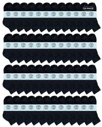 48 Bulk Yacht & Smith Wholesale Kids Mid Ankle Socks, With Free Shipping Size 6-8 (black)