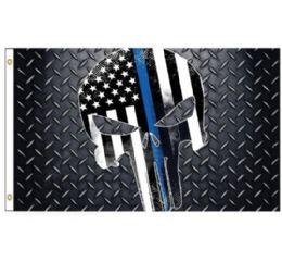 24 Bulk Blue Lives Matter Flag Skull