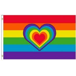 24 Bulk Rainbow Flag With Rainbow Heart