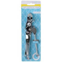 72 Bulk Can Opener 3-Way ChromE-Plated Metal/kitchen Tie-ON-Card