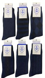 240 Bulk Yacht & Smith Men's Navy Textured Dress Socks Size 10-13 Bulk Pack