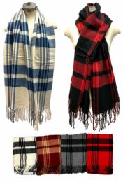 24 Bulk Plaid Scarves Assorted Colored