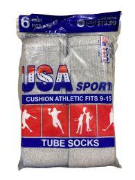 120 Bulk Usa Men's Sport Tube Socks, Referee Style, Size 9-15 Solid Gray