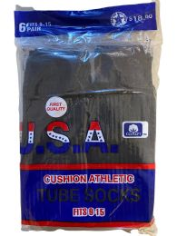 240 Bulk Men's Sport Tube Socks, Referee Style, Size 9-15 Solid Black Bulk Buy