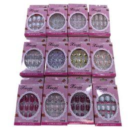 12 Bulk Fashion Nails [asst Prints] Pink Package