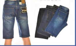 24 Bulk Men's Denim Shorts In Dark Blue