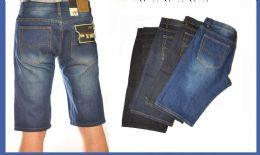 24 Bulk Men's Denim Shorts In Mid Blue