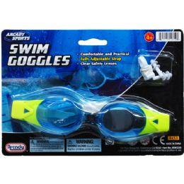 "48 Bulk 7"" Swim Goggles W/ Nose & Ear Plugs , 4assrt Clrs"