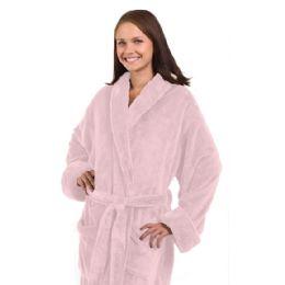 3 Bulk Tahoe Fleece Shawl Collar Robe In Light Pink