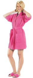 2 Bulk Thigh Length Waffle Weave Kimono Robe In Hot Pink