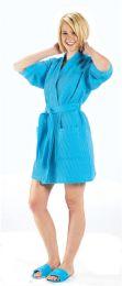 2 Bulk Thigh Length Waffle Weave Kimono Robe In Aqua