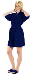 2 Bulk Thigh Length Waffle Weave Kimono Robe In Navy