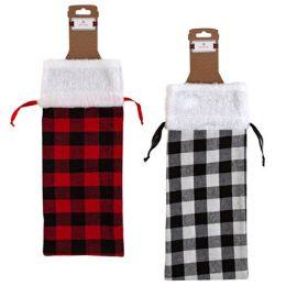 36 Bulk Christmas Fabric Bottle Bag