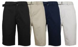 48 Bulk Mens Belted Cotton Chino Shorts Assorted Colors Ans Sizes