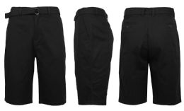 24 Bulk Mens Belted Cotton Chino Shorts Assorted Sizes Solid Black