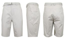 24 Bulk Mens Belted Cotton Chino Shorts Size 30 Solid Sand