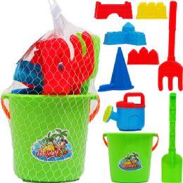 "12 Bulk 6"" Beach Toy Bucket With 8pc Acss In Pegable Net Bag"