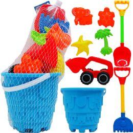 "9 Bulk 7"" Beach Toy Bucket W/ 7pc Acss In Pegable Net Bag"