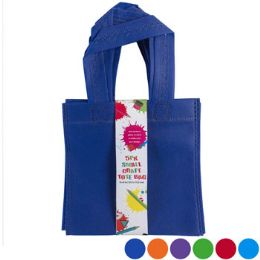 24 Bulk Tote Bag Small Craft 6x6in 5pk Six Colors NoN-Woven/card
