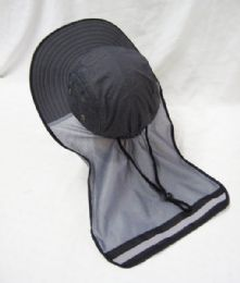 24 Bulk Mens Mesh Boonie / Hiking Hat In Grey