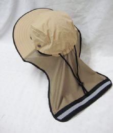 24 Bulk Mens Mesh Boonie / Hiking Hat In Beige