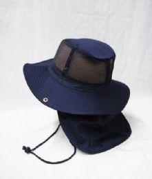 24 Bulk Men's Mesh Boonie / Hiking Hat In Navy Blue
