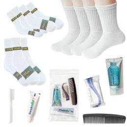 48 Bulk Bulk Homeless Care Package - Case Of 48 Wholesale Socks And 24 Hygiene Kits