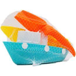 36 Bulk Beach Toy Boat W/acss In Pegable Net Bag