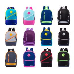 """24 Bulk 17"""" Backpacks With Front Zipper Pockets In 12 Assorted Styles Colors"""