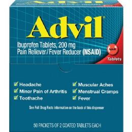 24 Bulk Advil Pain Reliever Single Dose Packets 50 Pack