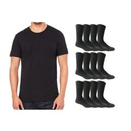120 Bulk Yacht & Smith Men's Cotton Crew Socks Size 10-13 And Black Solid T-Shirt Size Small