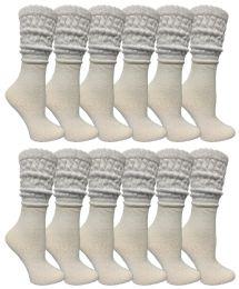 36 Bulk Yacht & Smith Slouch Socks For Women, Solid White Size 9-11 - Womens Crew Sock