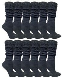 36 Bulk Yacht & Smith Slouch Socks For Women, Solid Black Size 9-11 - Womens Crew Sock