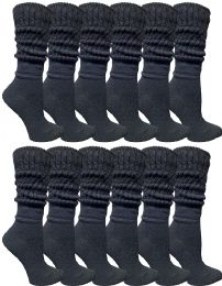 60 Bulk Yacht & Smith Womens Cotton Slouch Socks, Womans Knee High Boot Socks (black, 60 Pack)