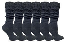 6 Bulk Yacht & Smith Womens Cotton Slouch Socks, Womans Knee High Boot Socks (black, 6 Pack)