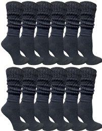 12 Bulk Yacht & Smith Womens Cotton Slouch Socks, Womans Knee High Boot Socks Solid Black