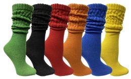 6 Bulk Yacht & Smith Womens Cotton Slouch Socks, Womans Knee High Boot Socks (assorted, 6 Pack)