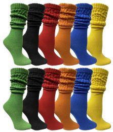 12 Bulk Yacht & Smith Womens Cotton Slouch Socks, Womans Knee High Boot Socks (12 Pack Assorted)