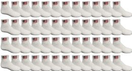 48 Bulk 48 Pack Yacht & Smith Kids Cotton White Usa Ankle Socks Size 6-8 Wholesale Bulk Packs