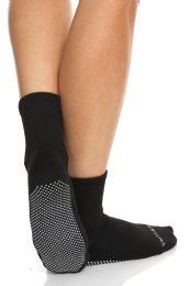 24 Bulk Yacht & Smith Multi Purpose Diabetic Black Rubber Silicone Gripper Bottom Slipper Sock Size 9-11