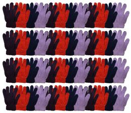 48 Bulk Yacht & Smtih Womens Assorted Colors Warm Fuzzy Gloves