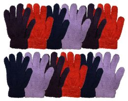 12 Bulk Yacht & Smtih Womens Assorted Colors Warm Fuzzy Gloves