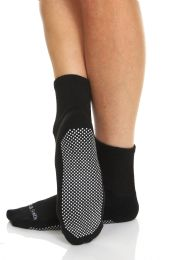 60 Bulk Yacht & Smith Womens Loose Fit Gripper Bottom NoN-Skid Slipper Socks ,yoga, Trampoline Socks Solid Black, Size 9-11