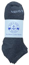 60 Bulk Yacht & Smith Mens 97% Cotton Low Cut No Show Loafer Socks Size 10-13 Solid Gray
